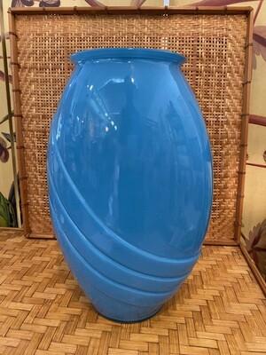 Vintage Large Blue Glass 80's Vase