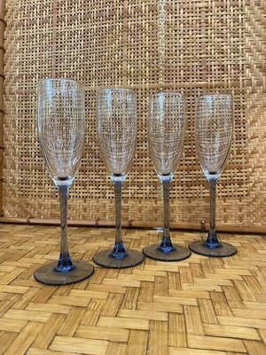 Vintage Set of Purple Stemmed Champagne Glasses
