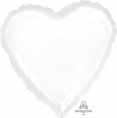 Heart Metallic White 18