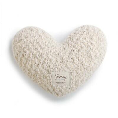 Cream Giving Heart Pillow