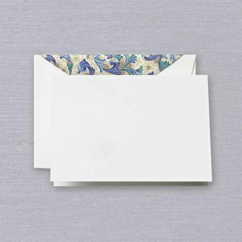 Blue Florentine White Folded Note Set