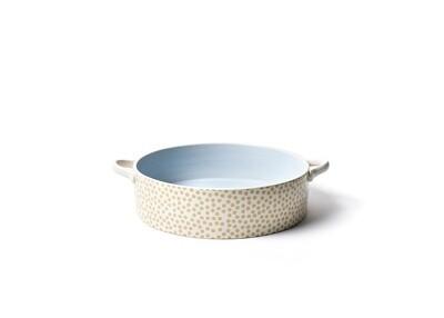 Neutral Nouveau Tan Dots Large Round Casserole Dish
