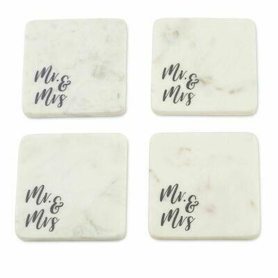 Mr. & Mrs. Marble Coaster Set