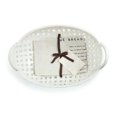 White Woven Ceramic Bread Basket