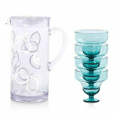 Lemons Pitcher & Blue Glasses Margarita Kit