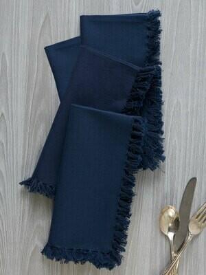Dark Blue Fringed Essential Napkins