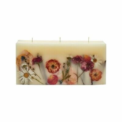 Apricot Rose 3-Wick Brick Botanical Candle