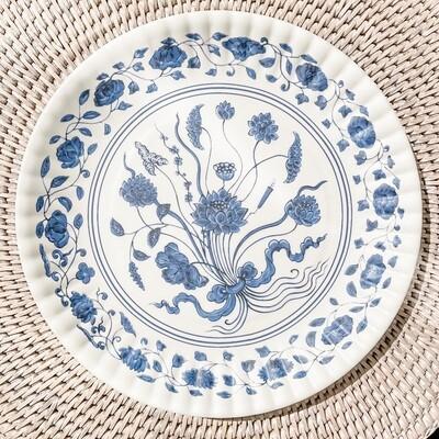 Botanical Blue Melamine Plate