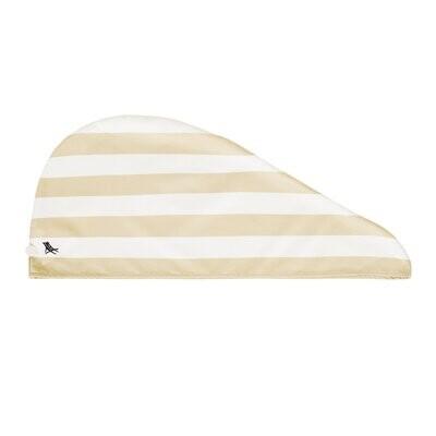 Tan Striped Quick Dry Hair Towel