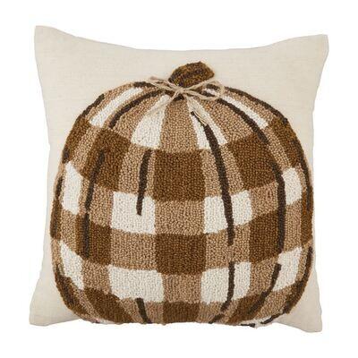 Raised Hook Taupe Pumpkin Pillow