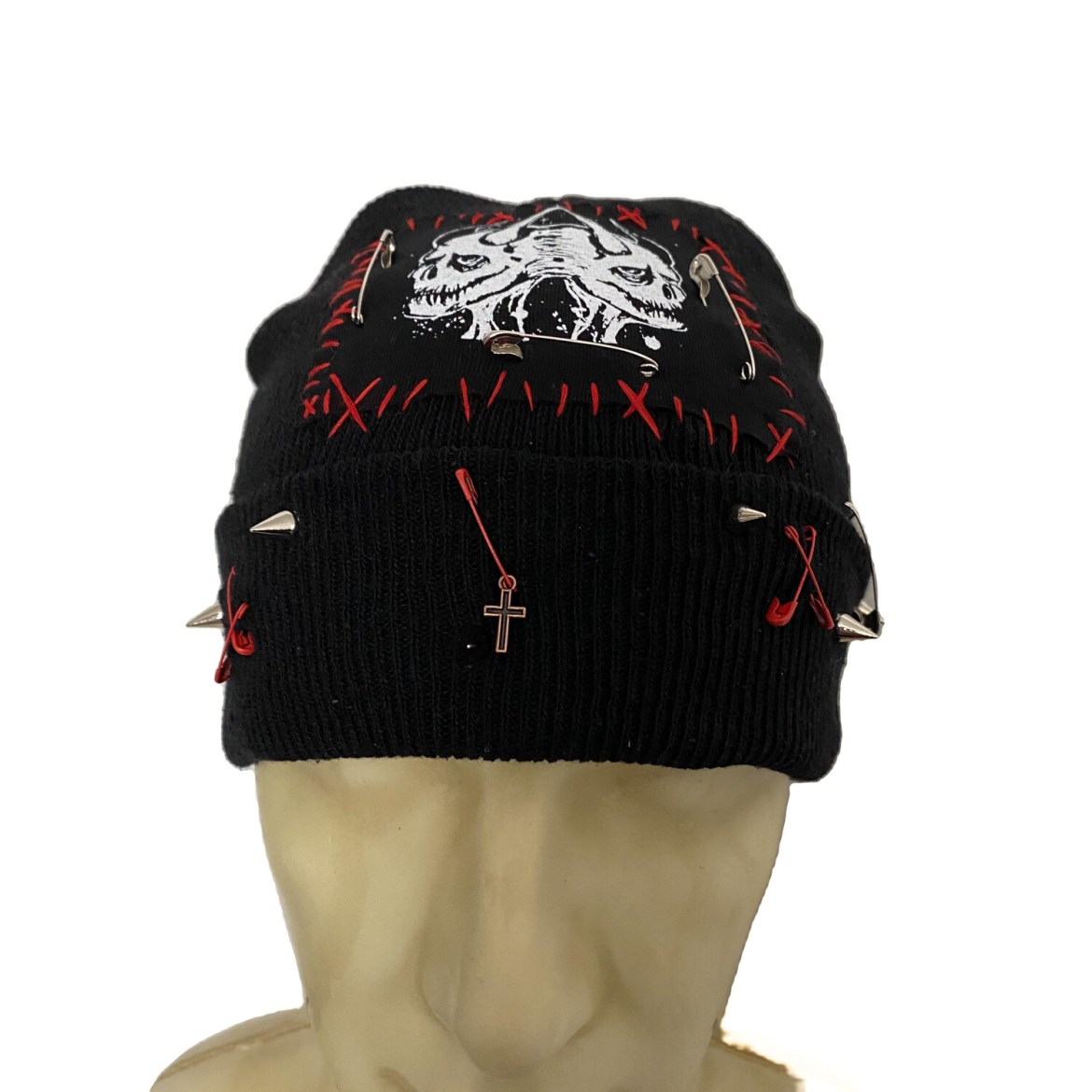 DIY or D*E Twin Demon Cross Beanie
