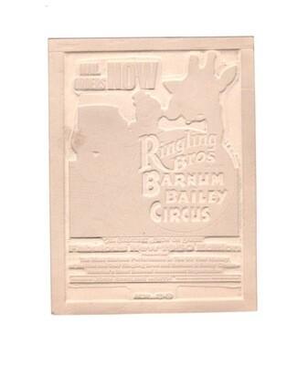 Ringling Bros Barnum & Bailey Wood Ad Mat 1960