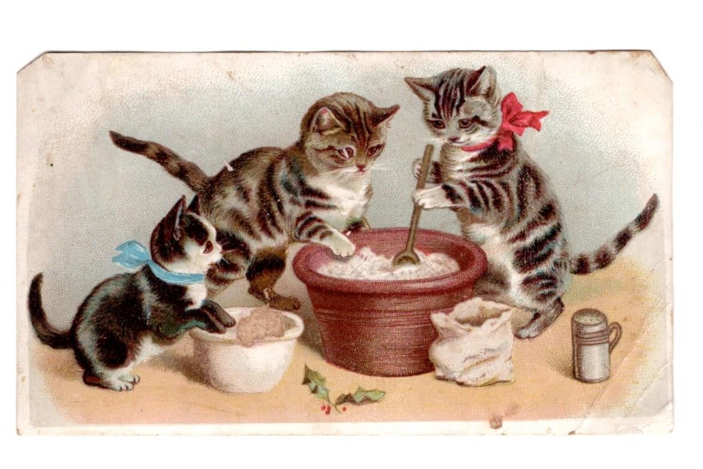 Holiday Baking Cats Lithograph Trade