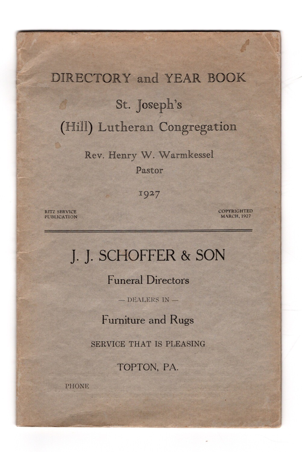 Directory and Year Book St. Joseph's Lutheran Congregation 1927