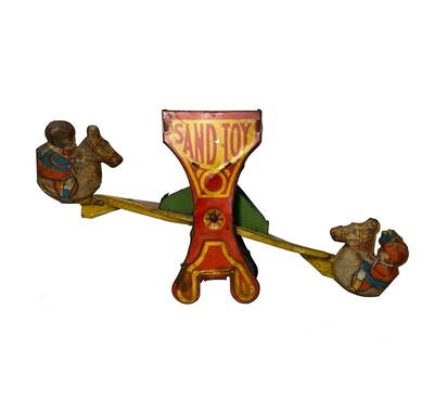 J. Chein & Co. Tin Sand Toy Teeter Totter with Horses