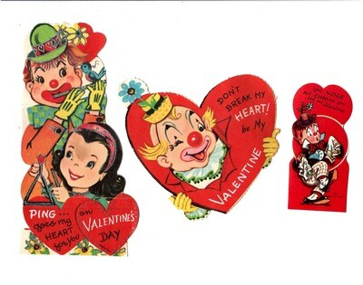 Mixed Lot 3 Clown/Circus Valentines 1960s
