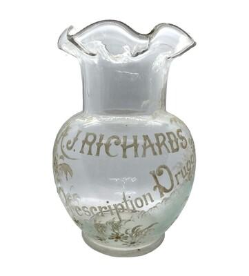 Hand Painted Glass AJ Richards Druggist Vase