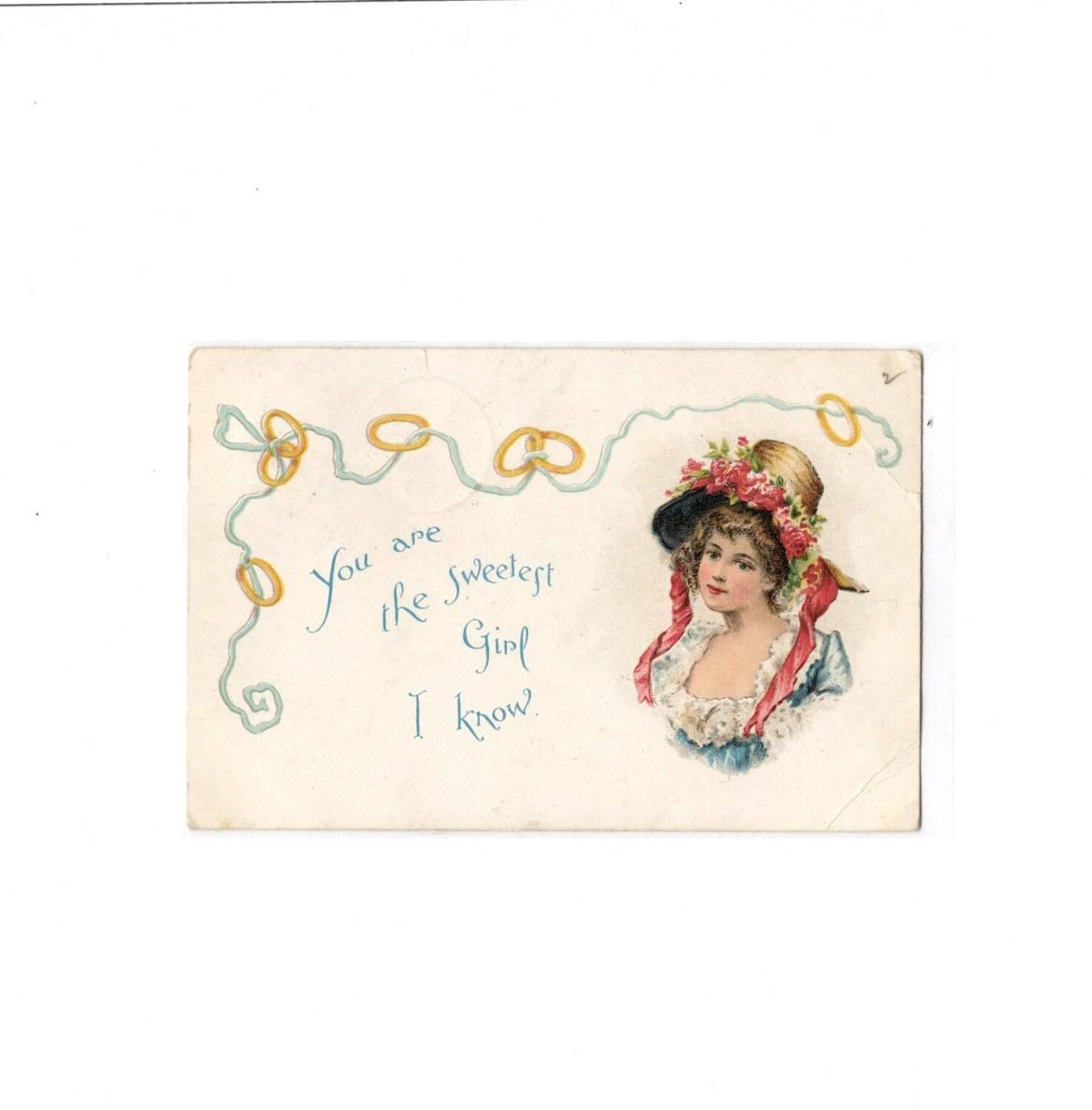 McLoughlin Bros. Sweet Girl Valentine Postcard