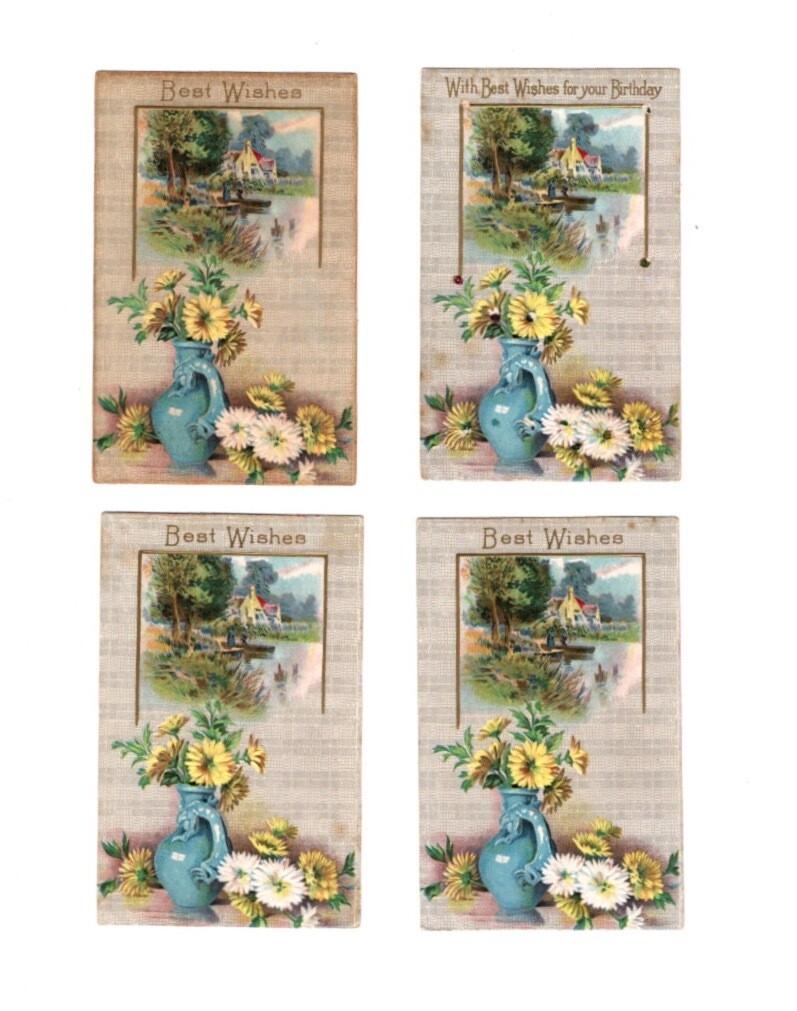 Best Wishes Edwardian Postcard 4-Pack