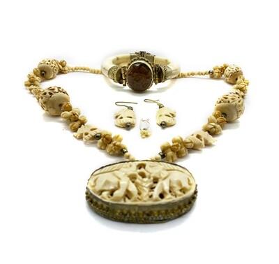 Vintage Carved Beads/Boho Necklace Set