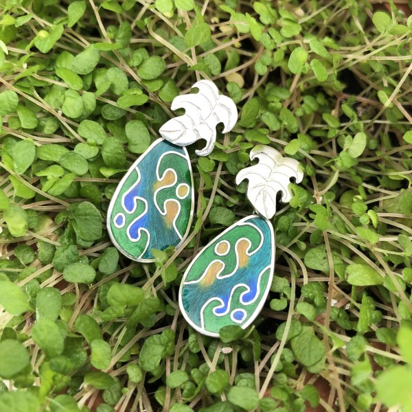 Botanical Gardens silver and cloisonne enamel earrings with Monstera Leaf