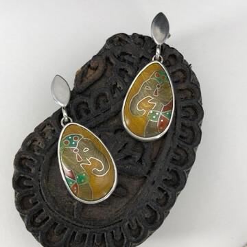 Rajah Elephant silver and cloisonne enamel earrings