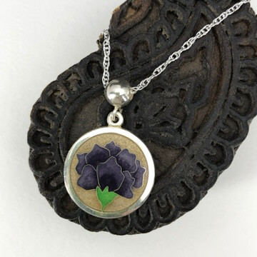 Purple Flower small cloisonne enamel silver pendant