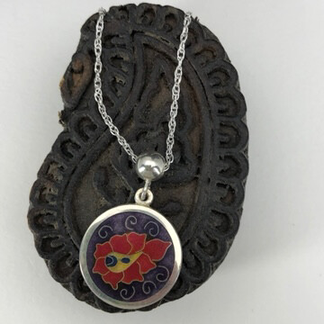 Purple and red paisley small cloisonne enamel and silver pendant