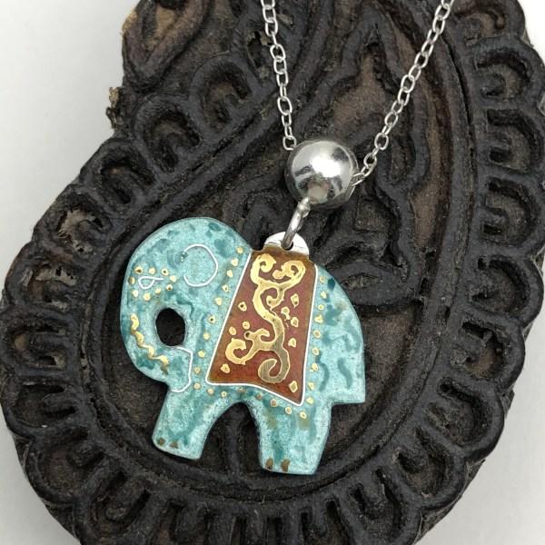 Indian Elephant Pendant - Silver and Turquoise Enamel
