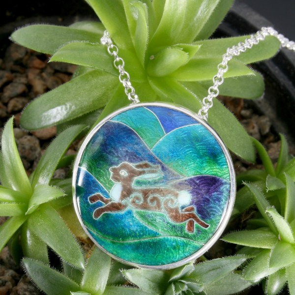 Hare and Hills silver and cloisonne enamel pendant