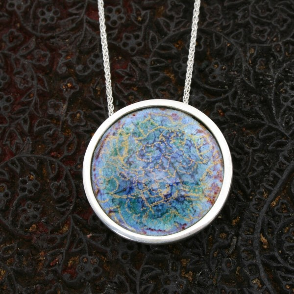 'Indian Memories; silver and enamel pendant - blue, green and purple