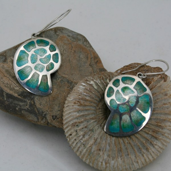 Ammonite silver and Enamel Fossil earrings
