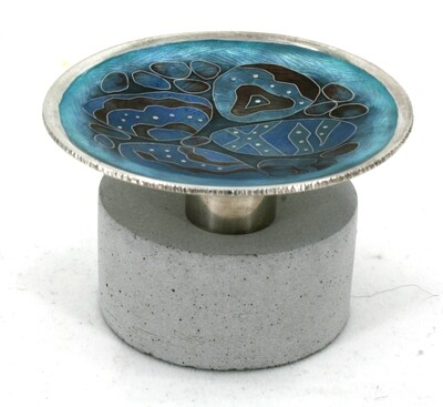 Tiny Silver Cloisonne enamel Pebble Pool Dish on a concrete base.