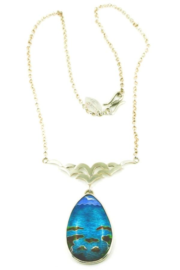 'Seaside Rocky Beach' Cloisonne enamel on silver  Pendant