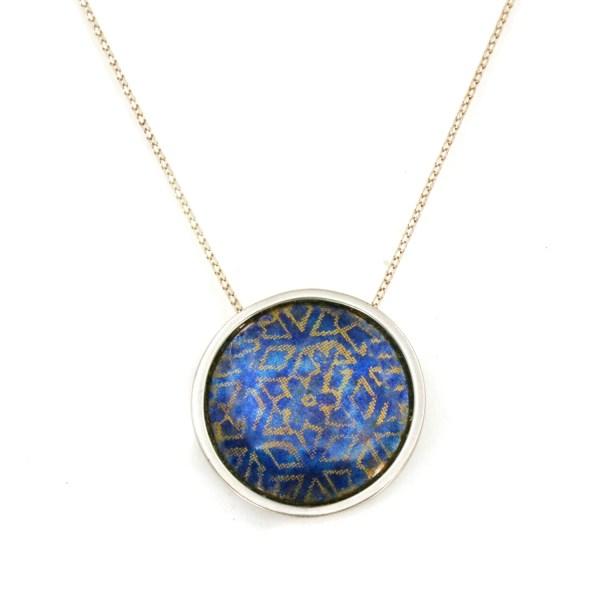 'Indian Memories' silver and blue enamel pendant