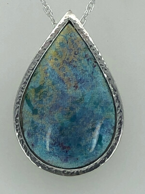 Indian Memories Silver And Enamel Pendant In Light Blue Turquoise