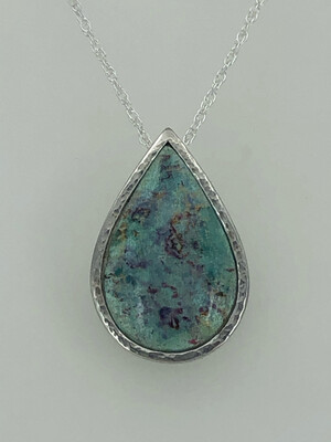 'Indian memories' Sari Style Silver And Enamel Pendant In Light Green Turquoise