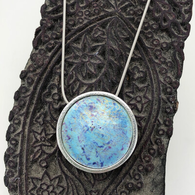 Indian Memories; Silver And Enamel Pendant - Light Turquoise Blue And Purple