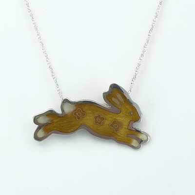 Bunny Champlevé And Cloisonné Enamel Necklace - Amber Yellow And Peach