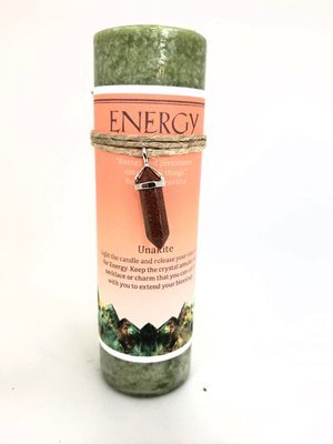 Energy Candle with Unakite Pendant