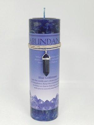 Abundance Candle with Blue Goldstone Pendant