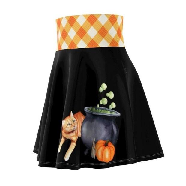 Halloween Cat Skater Skirt