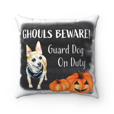 Ghouls Beware Halloween Pillow / Pillowcase - Tan Chihuahua