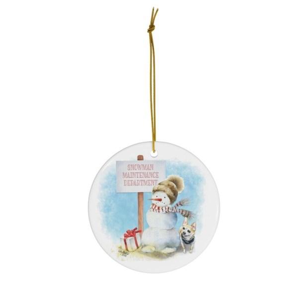 Chihuahua Snowman Ornament
