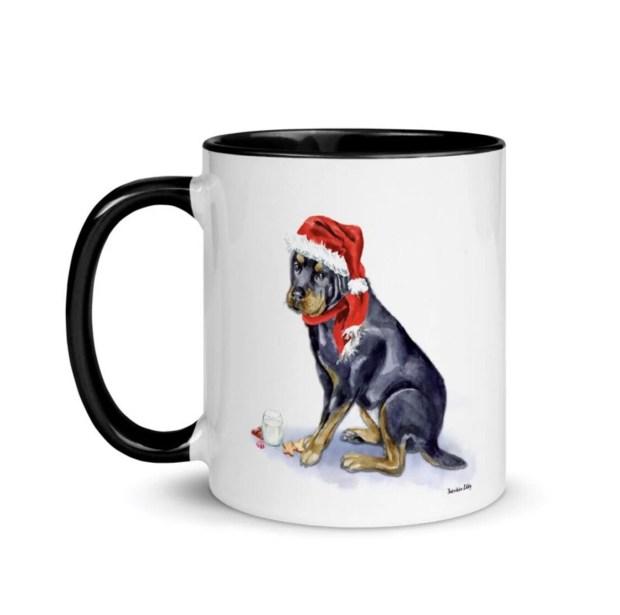 Santa, (Fur) Baby Mug - Rottweiler
