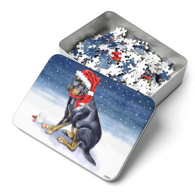 Santa (Fur) Baby Christmas Puzzle - Rottweiler