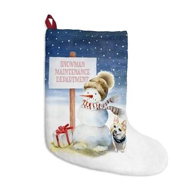 Santa, (Fur)Baby Stocking - Chihuahua Snowman
