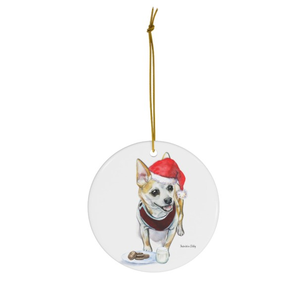 Santa (Fur)Baby Ornament - Chihuahua (tan)