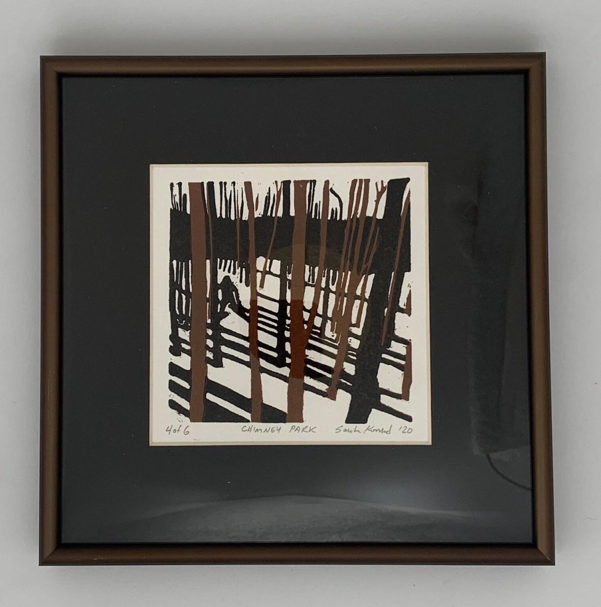 Chimney Park  (linoleum cut print) by Sarah Konrad