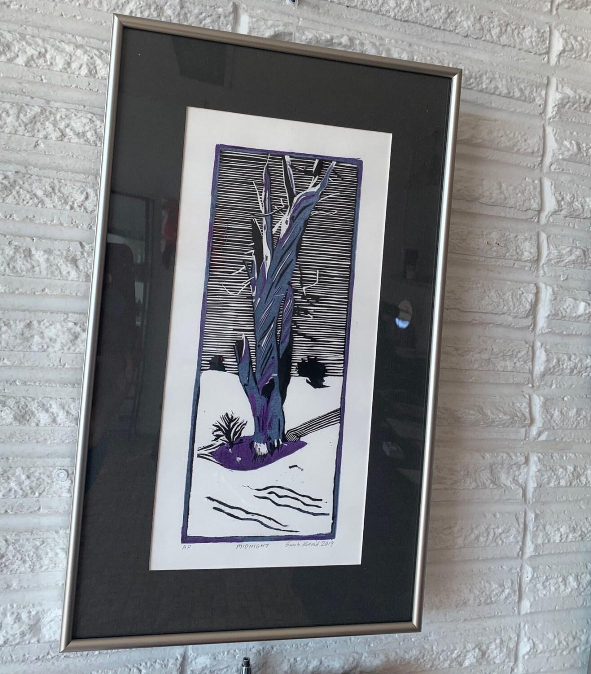 Midnight (linoleum cut print) by Sarah Konrad